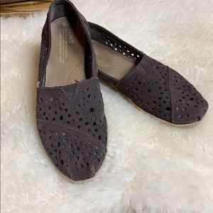 Tom's Laser Cut Suede Chocolate Brown Classic Sz 8